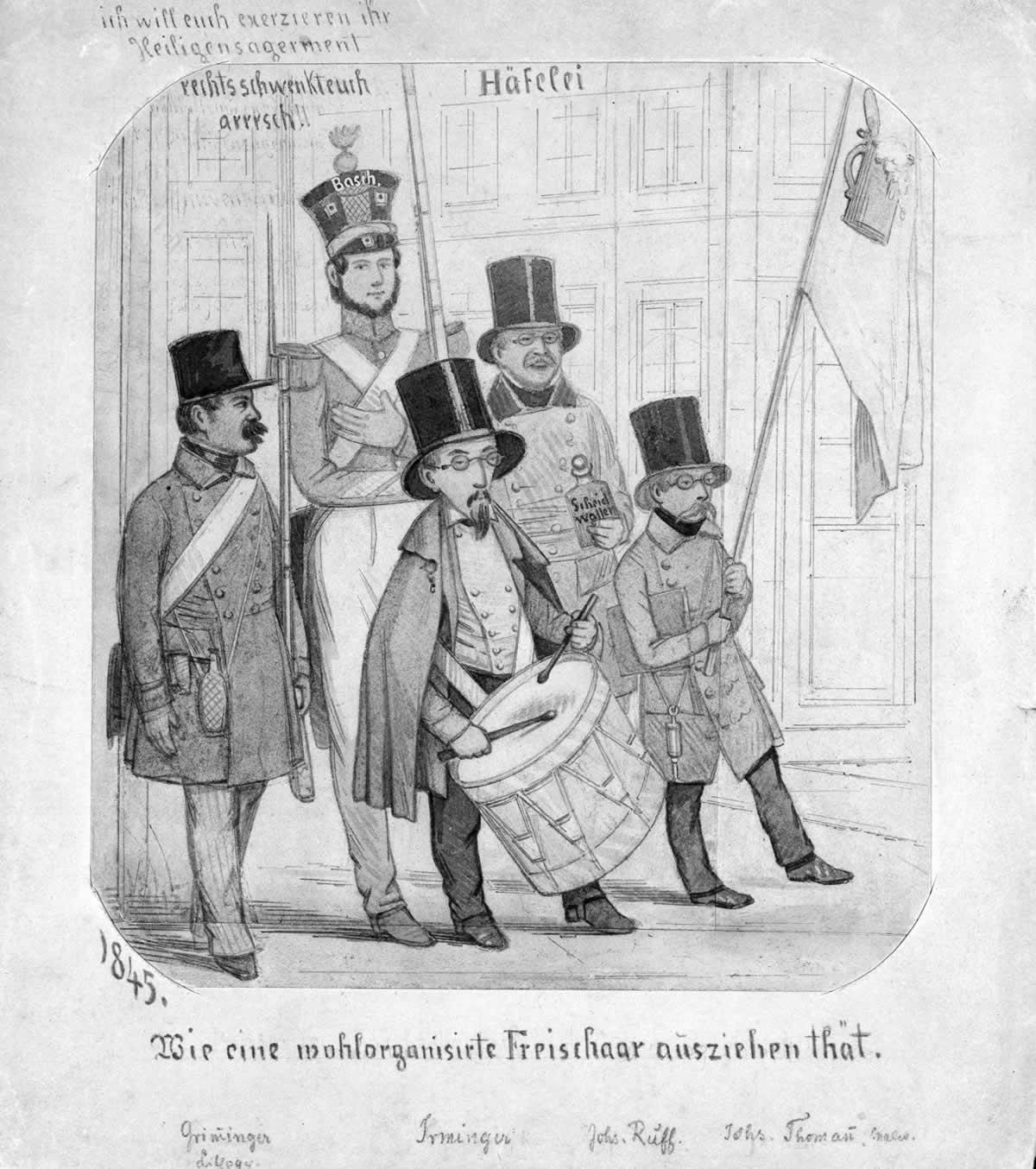 Freischarenkarikatur «Wie eine wohlorganisirte Freischaar ausziehen thät»